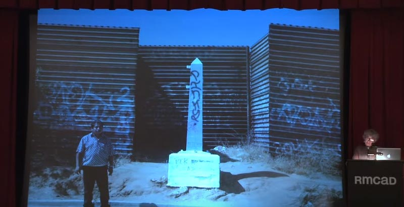 LUCY LIPPARD lecture graphic showing defaced monument