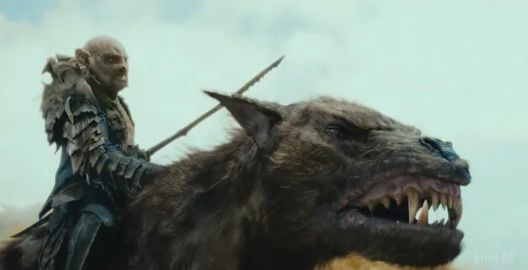 rendering of orc riding wolf