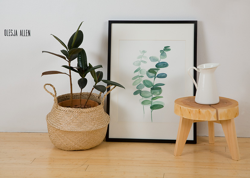 still life painting and a plant in a basket