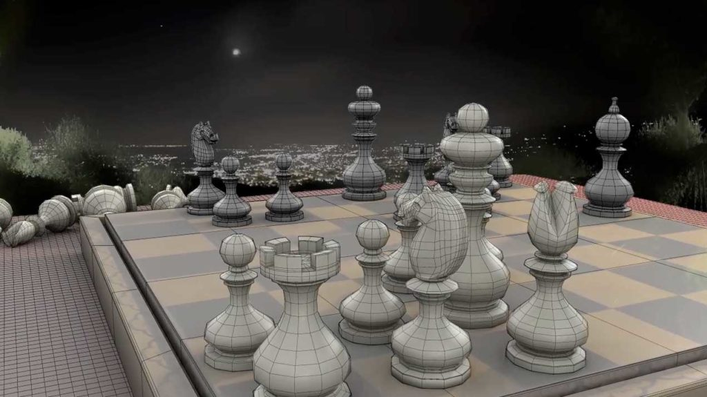 rendering of a chess set with wire frames showing