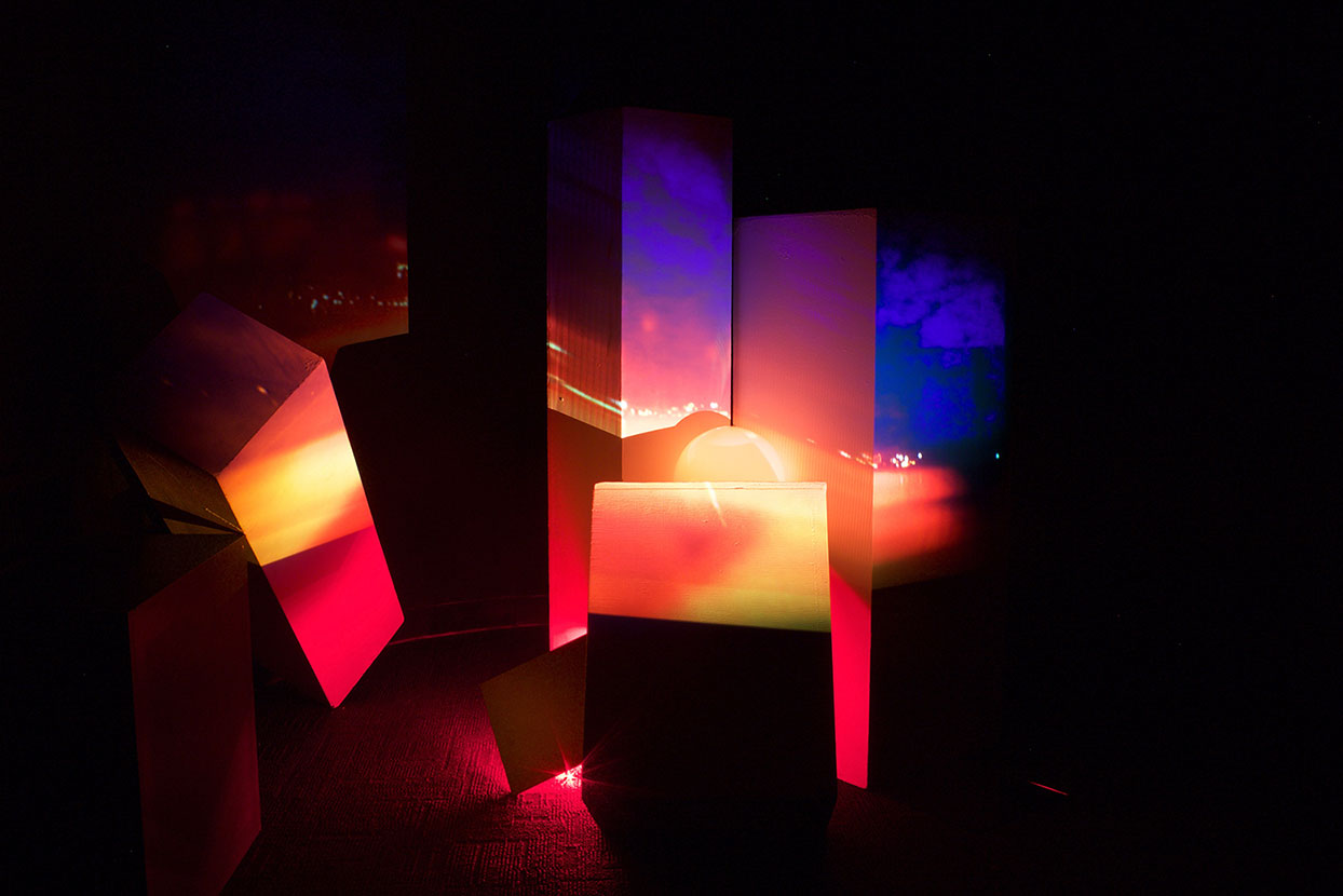 Colorful lit cubic shapes and textures
