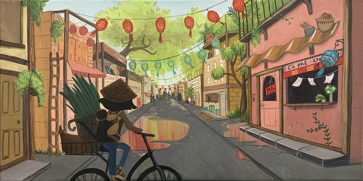 Acrylic illustration of person on bike in street