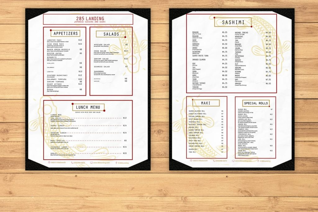 Restaurant menu design and mockup