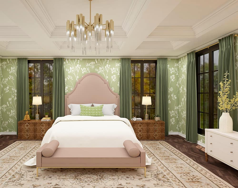 Interior design of a bedroom with floral wallpaper