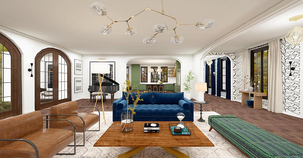 Interior design of a modern living room with furniture and lighting