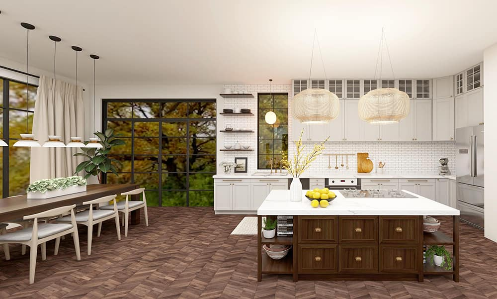 Interior design of a modern kitchen and dining area with large windows and lighting