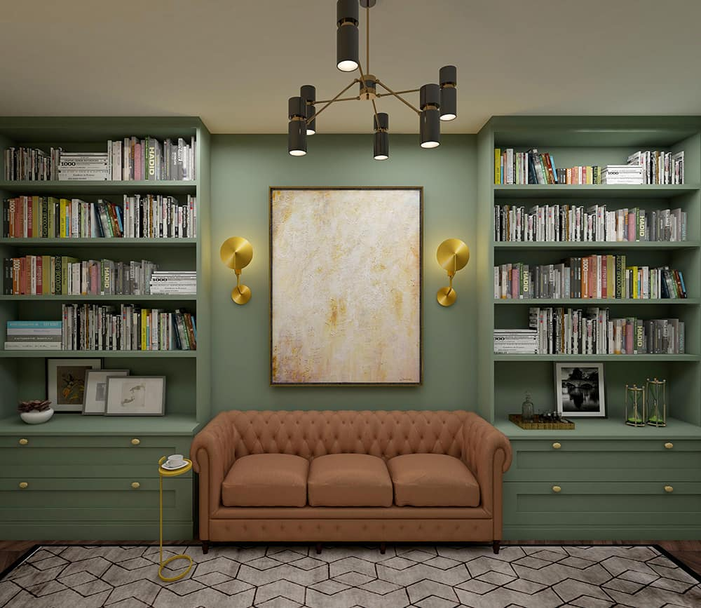 Interior design of a study area with modern furniture and bookcases