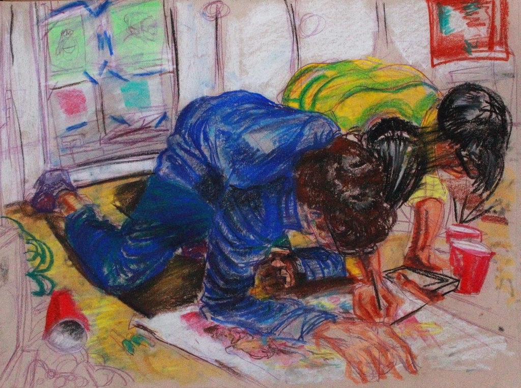A crayon-like drawing of two children coloring on the floor