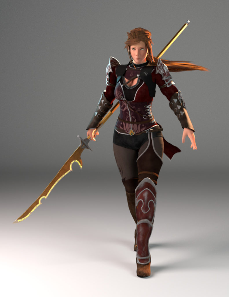 Action figure-like character model wearing armor and holding a spear with a long curved blade on the end