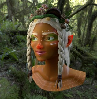 A woodland creature head floating in the woods