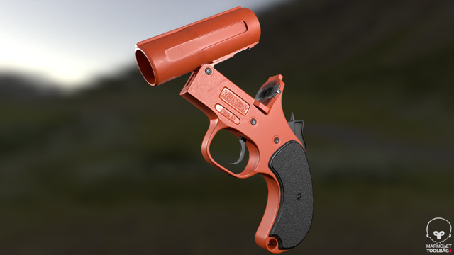 A flare gun in the reloading position