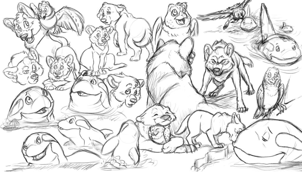 A wolf creature making friends with many other different animals