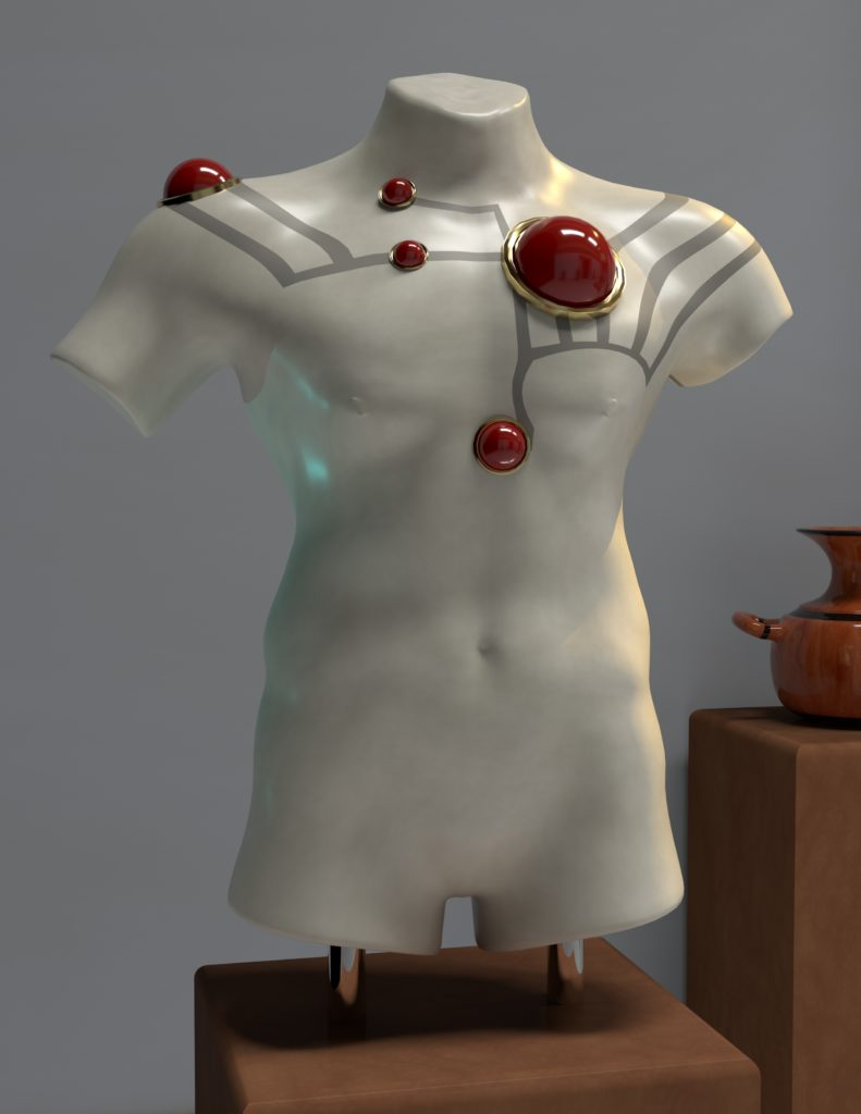 A mannequin body with a tattoo and red circles