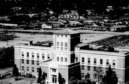 old black and white aerial view of campus